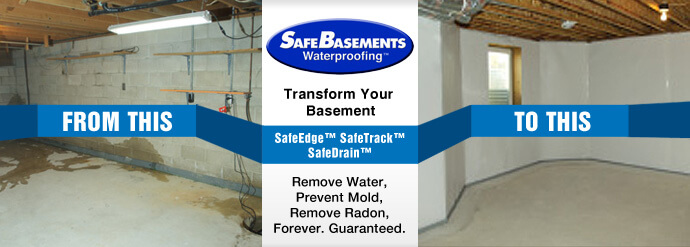 basement waterproofing before after